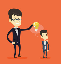 business man giving idea bulb to his partner vector image