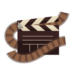 cinema clapperboard and film movie flat vector image