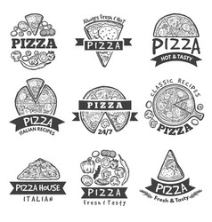 different labels set for pizza restaurant vector image vector image