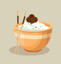 japanese rice dish and chopsticks vector image