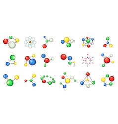 molecule icon set cartoon style vector image
