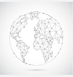 polygonal world globe vector image vector image