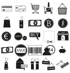 set shop black icon on white vector image