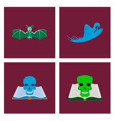 Assembly flat bat ghost book skull vector