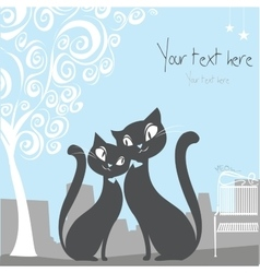 black cat on a city background with space for text vector image vector image