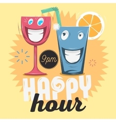 Happy Hour Cool Funny Cartoon Of vector image