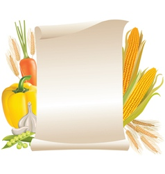 Harvest cereals and vegetable scroll vector image