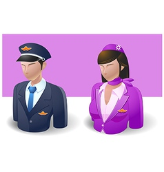 People Icons Captain and Air Hostess vector image vector image