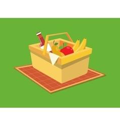 Picnic basket food cartoon vector image