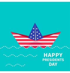 Presidents Day background Paper boat Dash line vector image vector image