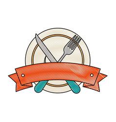 set cutlery tools in cup vector image vector image