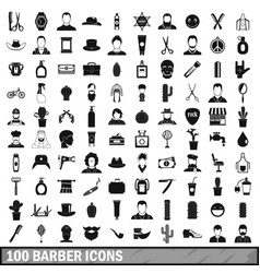 100 barber icons set simple style vector