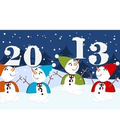 2013 dancing snowmen vector image