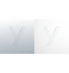 3d paper cut letter y isolated on transparent vector