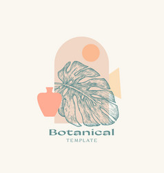 abstract botanical sign label or logo vector image