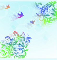 abstract floral colorful background with plants vector image