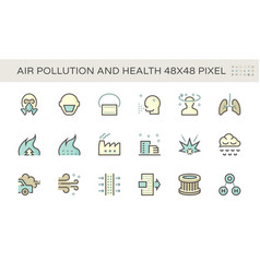 air pollution and health icon set design 48x48 vector image