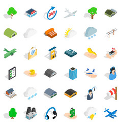 airport icons set isometric style vector image