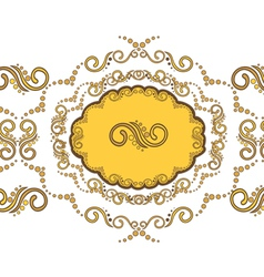 Beautiful border with golden vignettes vector