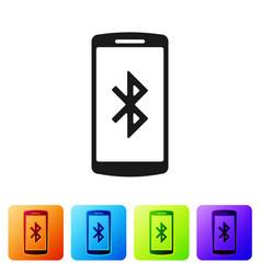 Black smartphone with bluetooth symbol icon vector