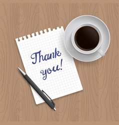 blank pad of paper pen and coffee vector image