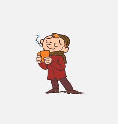 Boy enjoying a hot drink vector