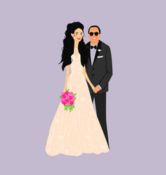 Bride and groomcouple wedding card with the vector