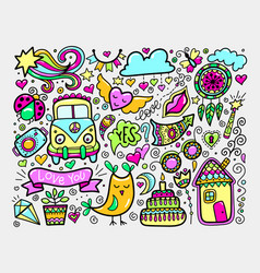 bright sketch drawing doodle elements set lovely vector image