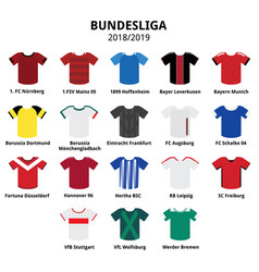Bundesliga jerseys 2018 - 2019 german football vector