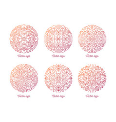 bundle of elegant round oriental ornaments drawn vector image