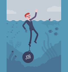 businessman drowning chained with a weight job vector image