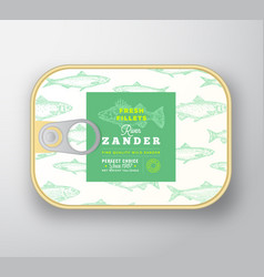 canned fish label template abstract vector image