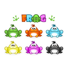 Cartoon frogs different colored toads vector