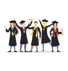 Cartoon graduation happy students row vector