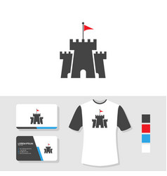 castle logo design with business card and t shirt vector image