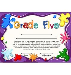 Certificate template for grade five vector