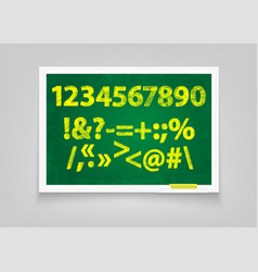 Chalk digits and signs on a blackboard handmade vector