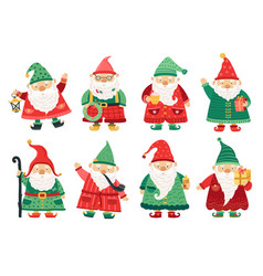 christmas dwarfs cute fairytale gnome old beard vector image