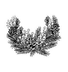 christmas wreath engraving vector image