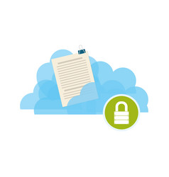 cloud padlock security documents vector image