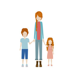 Color silhouette with kids and mom with pants and vector