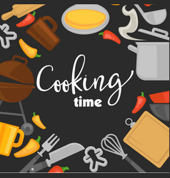 cooking time poster of chef cook utensils vector image