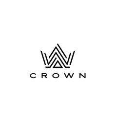 crown logo icon line stripes style vector image