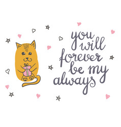 cute cat in love romantic vector image