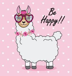 Cute llama with sunglasses vector