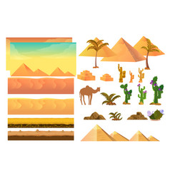 Desert seamless background elements cartoon vector