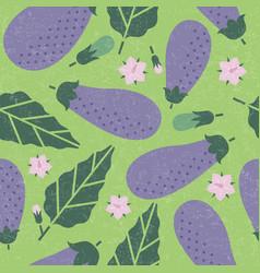 eggplant seamless pattern leaves flowers vector image
