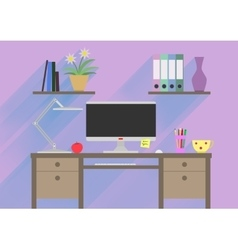 Flat design interior concept of work place with vector