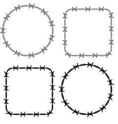frame barbed wire set vector image