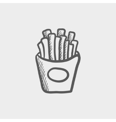 French fries sketch icon vector